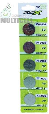 BATERIA BOTÃO CR2430 3V FLEX GOLD CARTELA C/ 5 UNIDADES