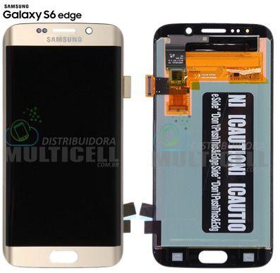 GABINETE FRONTAL MÓDULO COMPLETO TELA LCD TOUCH SCREEN SAMSUNG G925 G925i G925F GALAXY S6 EDGE DOURADO GOLD ORIGINAL