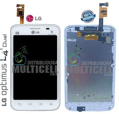 GABINETE FRONTAL LCD TOUCH SCREEN LG E465 E467 L4 II DUAL BRANCO ORIGINAL