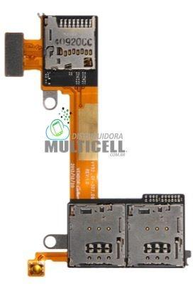 FLEX LEITOR MATRIZ SLOT CONECTOR DE CHIP SIM CARD SONY D2403 D2405 D2406 M2 AQUA DUAL