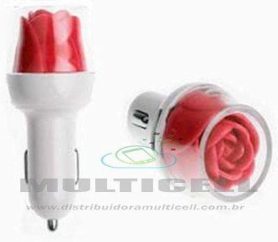 FONTE USB VEICULAR LELONG COM 2 ENTRADAS USB MODELO FLOR VERMELHA