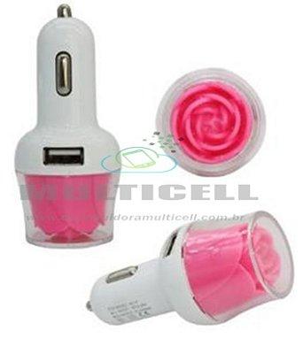 FONTE USB VEICULAR LELONG COM 2 ENTRADAS USB MODELO FLOR ROSA