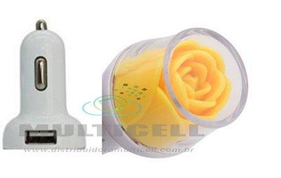 FONTE USB VEICULAR LELONG COM 2 ENTRADAS USB MODELO FLOR AMARELA
