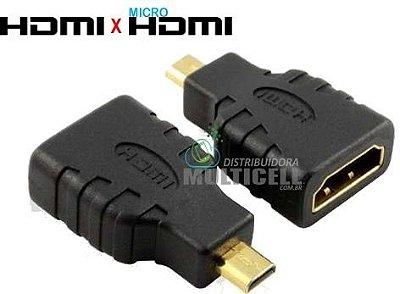 ADAPTADOR HDMI FEMIA PARA MICRO HDMI MACHO PRETO