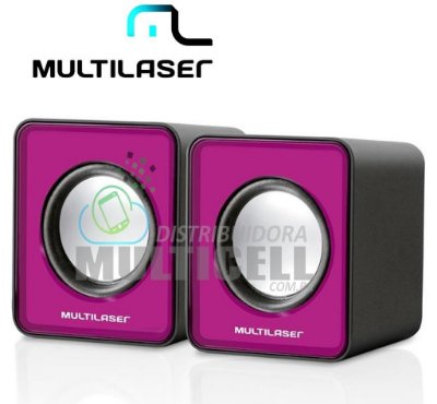 CAIXA DE SOM MULTILASER 3W PARA PC/NOTEBOOK ROSA