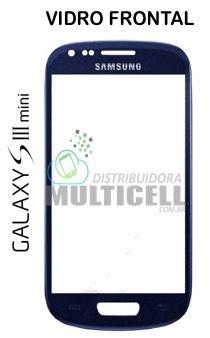 TELA VIDRO FRONTAL SAMSUNG I8190 I8200 GALANY S3 MINI AZUL ORIGINAL