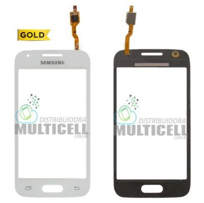 TELA TOUCH SCREEN SAMSUNG G318 GALAXY ACE 4 C/ CAMERA FRONTAL BRANCO 1ªLINHA AAA GOLD