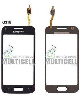 TELA TOUCH SCREEN SAMSUNG G318 GALAXY ACE 4 C/ CAMERA FRONTAL PRETO 1ªLINHA