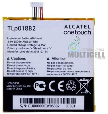 BATERIA ALCATEL TLP018B2  6030 OT6030 ON TOUCH IDOL 7024 OT7024 ON TOUCH FIERCE ORIGINAL