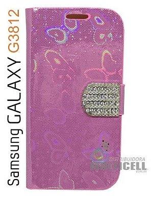 CAPA CARTEIRA PERSONALIZADA SAMSUNG G3812 GALAXY S3 SLIM ROSA CLARO