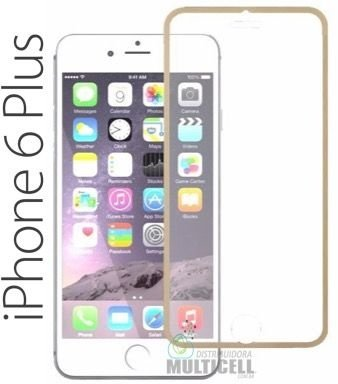 PELICULA DE VIDRO COM BORDA APPLE IPHONE 6 PLUS IPHONE 6S PLUS 5.5' DOURADA 0.3 mm
