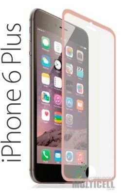 PELICULA DE VIDRO COM BORDA APPLE  IPHONE 6 PLUS IPHONE 6S PLUS 5.5' ROSA ROSE 0.3 mm