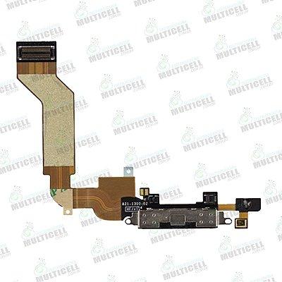 FLEX DOCK USB CONECTOR DE CARGA USB IPHONE 4S PRETO 1ªLINHA QUALIDADE AAA