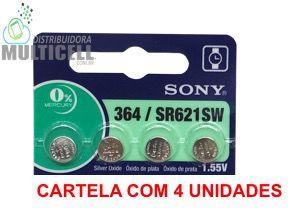 BATERIA CELULA BOTÃO MOEDA SONY 364 SG 620 621 AG-1 LITHIUM 1.55V 100% ORIGINAL CARTELA C/ 4 UND