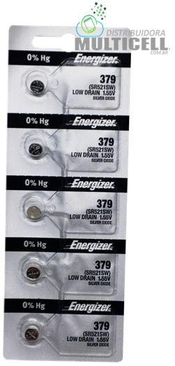 BATERIA CELULA BOTÃO MOEDA ENERGIZER SONY 379 521 1,55V (SR521SW) 100% ORIGINAL CARTELA C/ 5UN