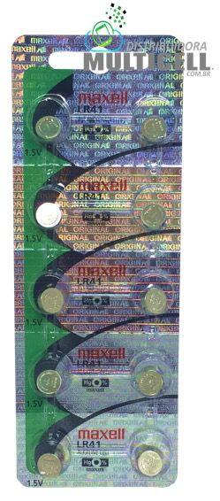 BATERIA CELULA BOTÃO MOEDA MAXELL LR41 G3 392 736 192 100% ORIGINAL CARTELA C/ 10UN