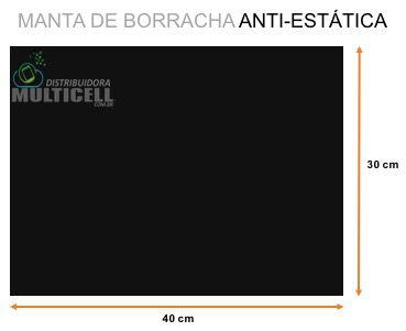 BORRACHA MANTA ANTI-ESTÁTICA ESD PARA BANCADA 30 X 40CM PRETA