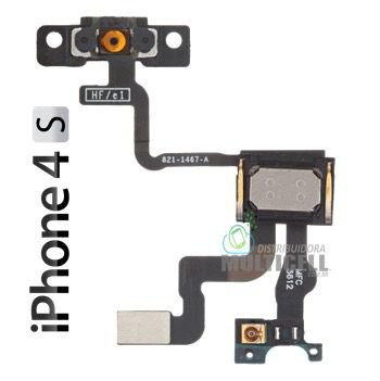 FLEX POWER ON OFF E ALTO FALANTE AURICULAR  APPLE A1387 821-1467-A IPHONE 4S 1ªLINHA AAA