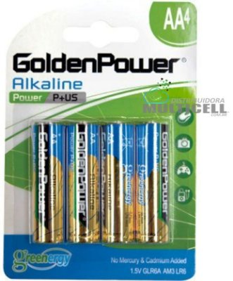 PILHA GOLDEN POWER ALCALINA AA 1.5V LR6 AM3 GLR6A POWER PLUS BLISTER COM 4 PEÇAS