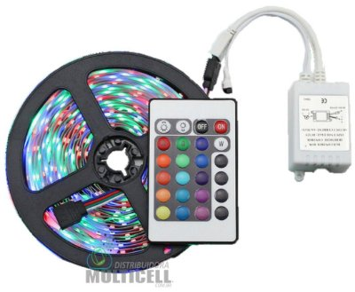 FITA LED RGB COLORIDA COM CONTROLE E RECEPTOR A PROVA D' AGUA ROLO COM 5 METROS 12V