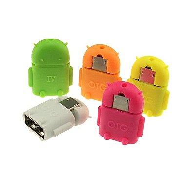ADAPTADOR MICRO USB OTG ANDROID PARA CELULAR E TABLET COLORIDO