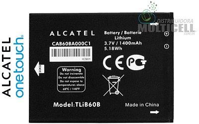 BATERIA ALCATEL CAB60BA000C1 TLIB60 OT4010/d OT4030/D/A OT-5020/d OT-4012 TCL j300 j310 j210 1400mAh 3.7V 5.18W ALCATEL ONE TOUCH EVOLVE ORIGINAL