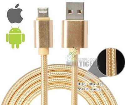 CABO DE NYLON USB REFORÇADO V8 IPHONE 2 EM 1 CARGA E TRANSFERENCIA DADOS DOURADO