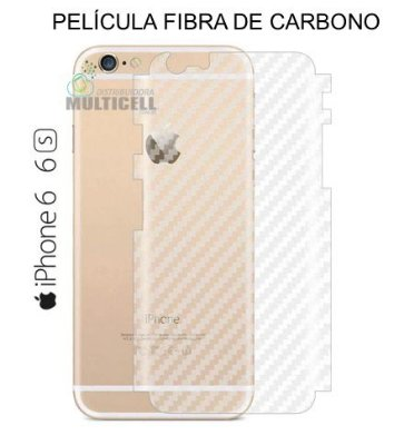 PELÍCULA TRASEIRA ADESIVA SKIN FIBRA DE CARBONO APPLE IPHONE 6 6S