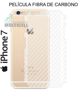 PELÍCULA TRASEIRA ADESIVA SKIN FIBRA DE CARBONO APPLE IPHONE 7  4.7''