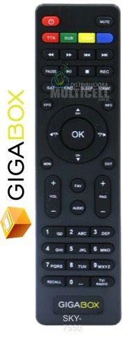 CONTROLE REMOTO PARA RECEPTOR DIGITAL GIGABOX S1000 HD / S1100 HD SKY-7550B 1ªLINHA