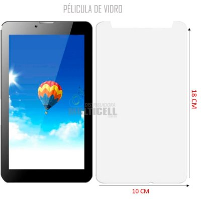 PELÍCULA DE VIDRO TABLET DL GT7325 MULTILASER M7 3G TX330 TP264 18cm x 10cm 2,5mm