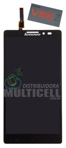 GABINETE FRONTAL DISPLAY LCD TOUCH SCREEN MODULO COMPLETO K910 LENOVO VIBE Z PRETO ORIGINAL