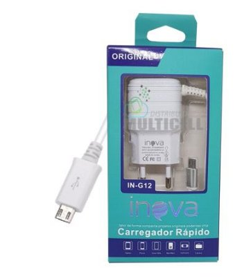 CARREGADOR CASA PAREDE INOVA IN-G42 2.1A SAMSUNG LG MOTOROLA ENTRADA V8  CARGA RAPIDA COM ENTRADA USB EXTRA