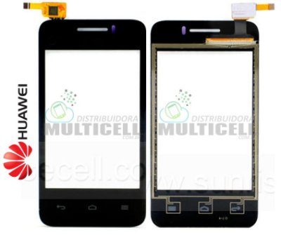 TELA VIDRO TOUCH SCREEN HUAWEI Y220 ASCEND PRETO ORIGINAL