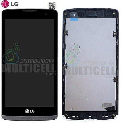 GABINETE FRONTAL MODULO COMPLETO TELA TOUCH  LG LEON TV H320 H324 H326 H340 H342 PRETO ORIGINAL (COM ARO LATERAL)