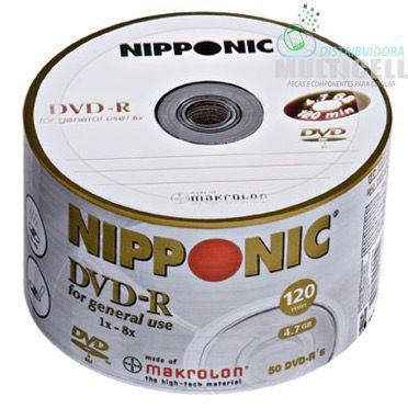 DVD GRAVAVEL PARA USO GERAL NIPPONIC DVD-R 4.7GB 120MIN 1X-8X TURBO PACOTE COM 50 UNIDADES
