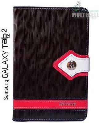 CAPA PARA TABLET SAMSUNG GALAXY TAB 2 P3100/P3110/P6200 COURINO PRETA COM VERMELHO FEITUN