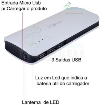 BATERIA EXTERNA POWER BANK RECARREGÁVEL PORTATIL INOVA 10000 mAh 3 ENTRADAS USB