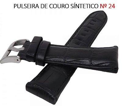 PULSEIRA DE COURO PARA RELÓGIO Nº 24 PRETO