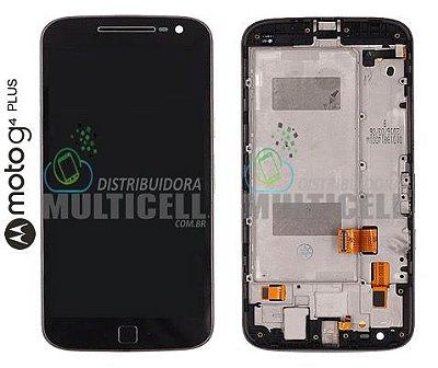 GABINETE FRONTAL TOUCH SCREEN LCD MODULO COMPLETO MOTOROLA XT1640 XT1644 MOTO G4 PLUS PRETO (COM ARO) ORIGINAL