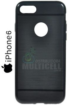 CAPA CASE DE SILICONE TPU TOP BLACK APLLE IPHONE 6 PRETA ESCOVADA