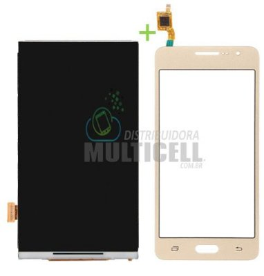 KIT COMBO DISPLAY LCD + TELA TOUCH SCREEN SAMSUNG G530 G531 DOURADO 1ªLINHA AAA