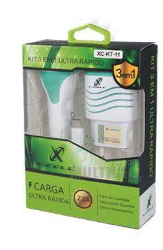 KIT 3 EM 1 CARREGADOR DE BATERIA CASA PAREDE VEICULAR  X-CELL 2.1A TIPO C  TURBO CARGA SUPER RAPIDA COM 2 ENTRADA USB EXTRA