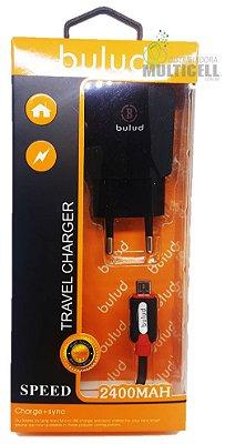 CARREGADOR MICRO USB V8 BULUD TURBO 2400 MAH C/2 ENTRADAS ORIGINAL PRETO
