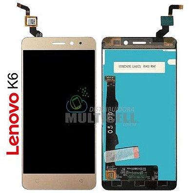 GABINETE FRONTAL LCD DISPLAY TOUCH SCREEN MODULO COMPLETO K33b36 LENOVO VIBE K6 DOURADO ORIGINAL