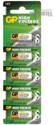 BATERIA 12V ALCALINA 23AE GP HIGH VOLTAGE C/ 5 UNIDADES