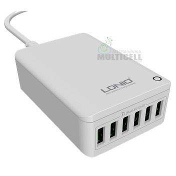 FONTE ADAPTADOR USB TURBO 7A CARGA ULTRA RAPIDA COM 6 ENTRADAS USB LDNIO A6703