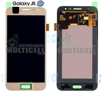 GABINETE FRONTAL LCD DISPLAY TOUCH SCREEN MODULO COMPLETO SAMSUNG J500 GALAXY J5 DOURADO GOLD (100% ORIGINAL NACIONAL)