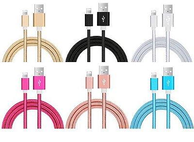 CABO USB CORDINHA NYLON MODELO APPLE IPHONE 5 6 7 8 SUPER RESISTENTE