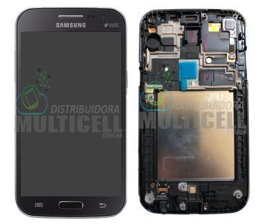 GABINETE FRONTAL DISPLAY LCD TELA TOUCH SCRENN MODULO COMPLETO SAMSUNG I8550 I8552 GALAXY WIN PRETO CINZA ORIGINAL